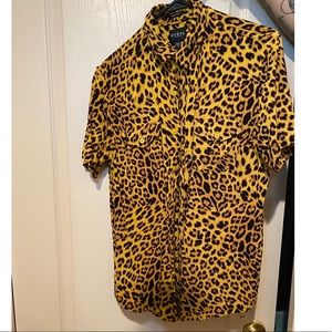 Men's Guess Leopard Button Down